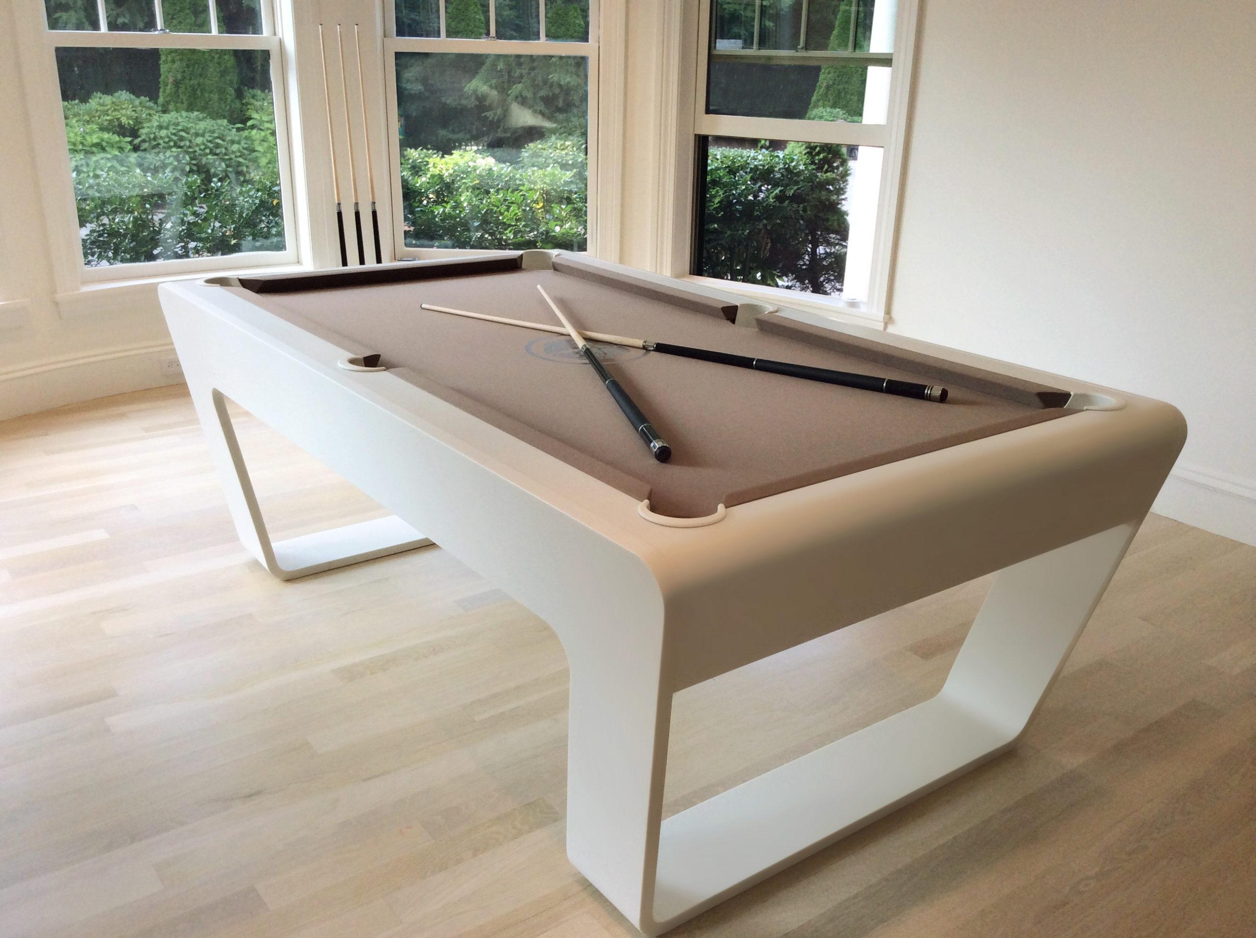 Contemporary billiards table in Cameo White