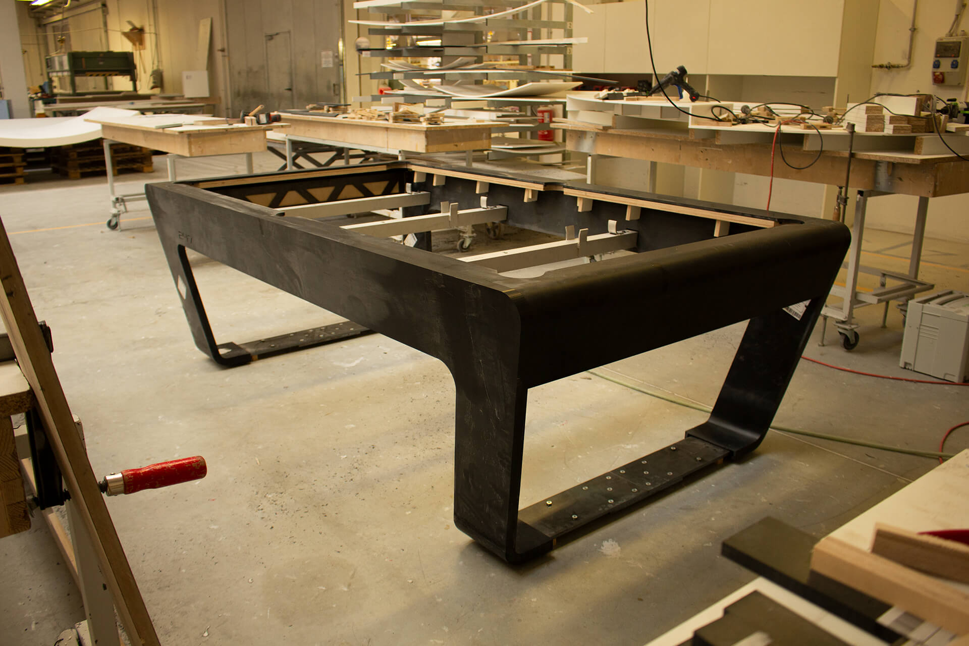 Production of Design Pool Table with Corian Surface